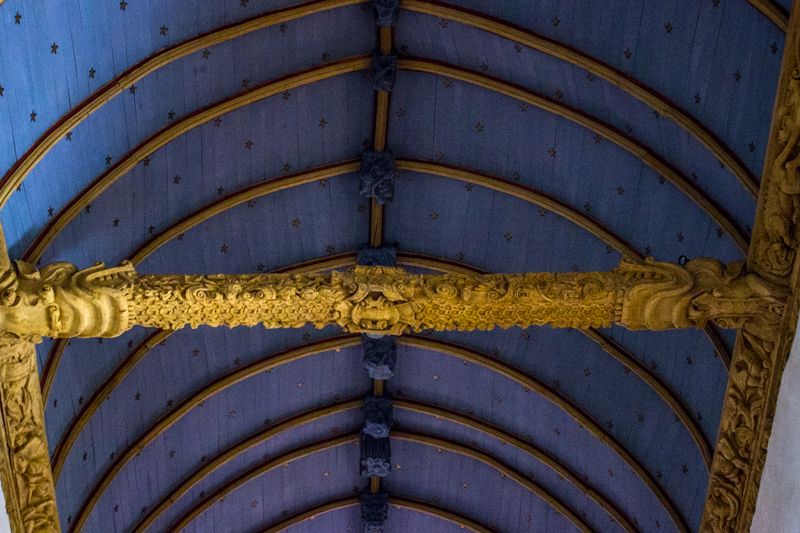 Carved ceiling beams in Bodilis Church