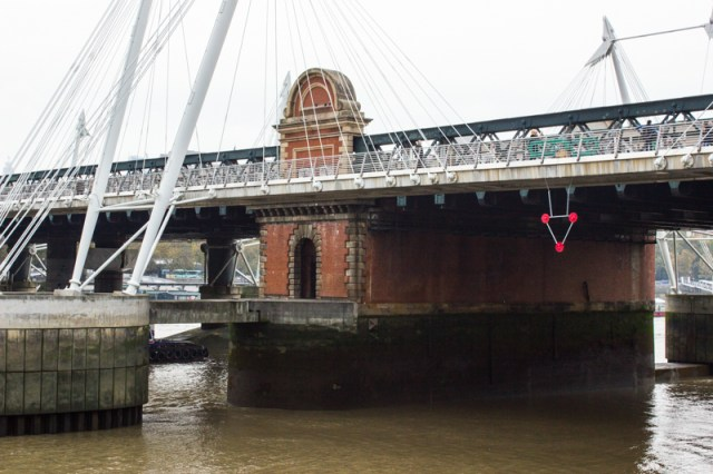 Brunel's brick pier supporting the Hungerford Bridge into Charing Cross