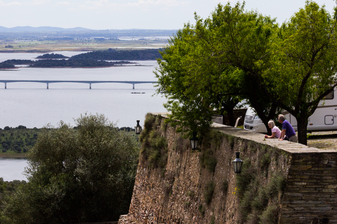 Visitors enjoying the The Reservoir of Alqueva from the Car Park at Monsaraz