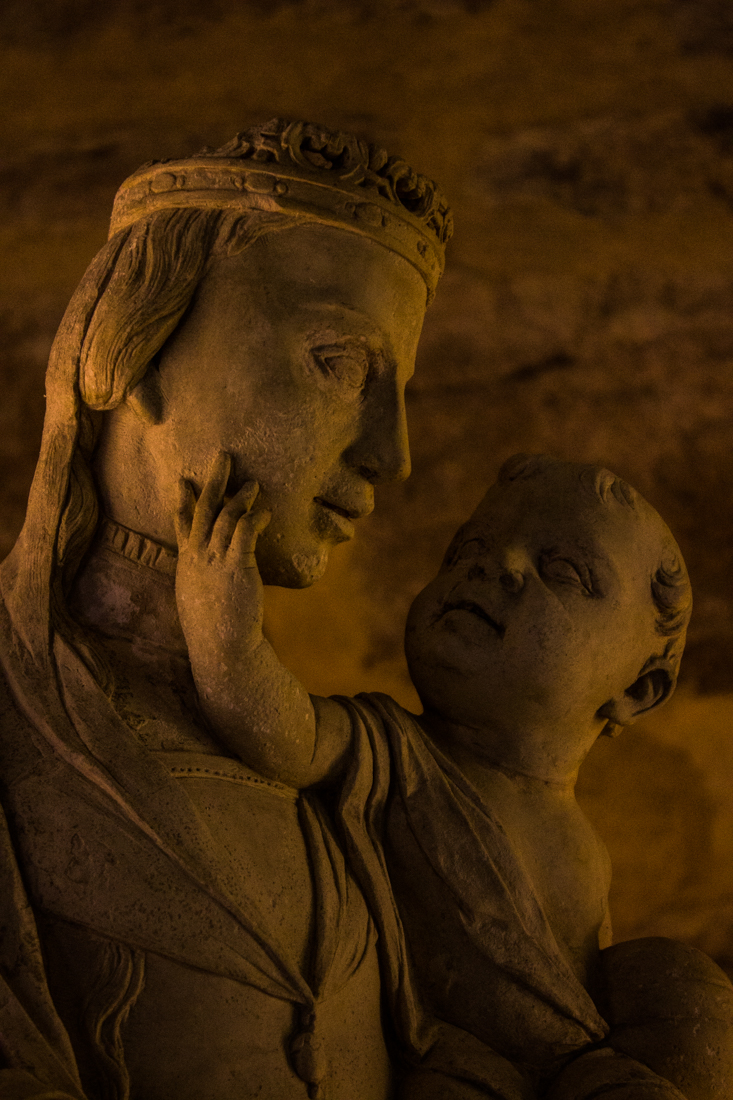 Display of 15C & 16C statues of the Virgin & Child in the Pousada of Flor da Rosa