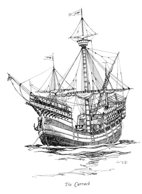 16C Portuguese Carrack for trading in long sea voyages