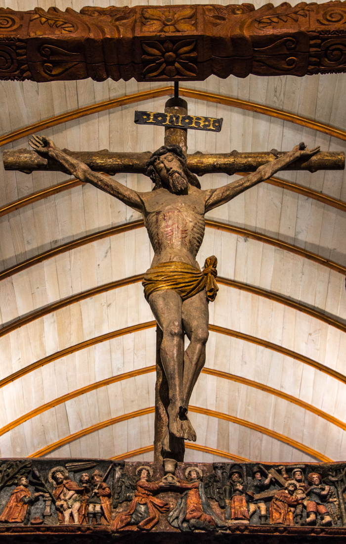The crucifixion on the Glory Beam in the Church of Lampaul-Guimiliau