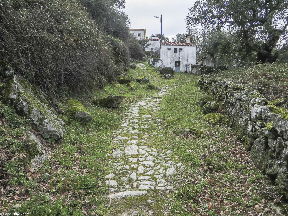 The cobbled Mediaeval road down the hill at Carreiras