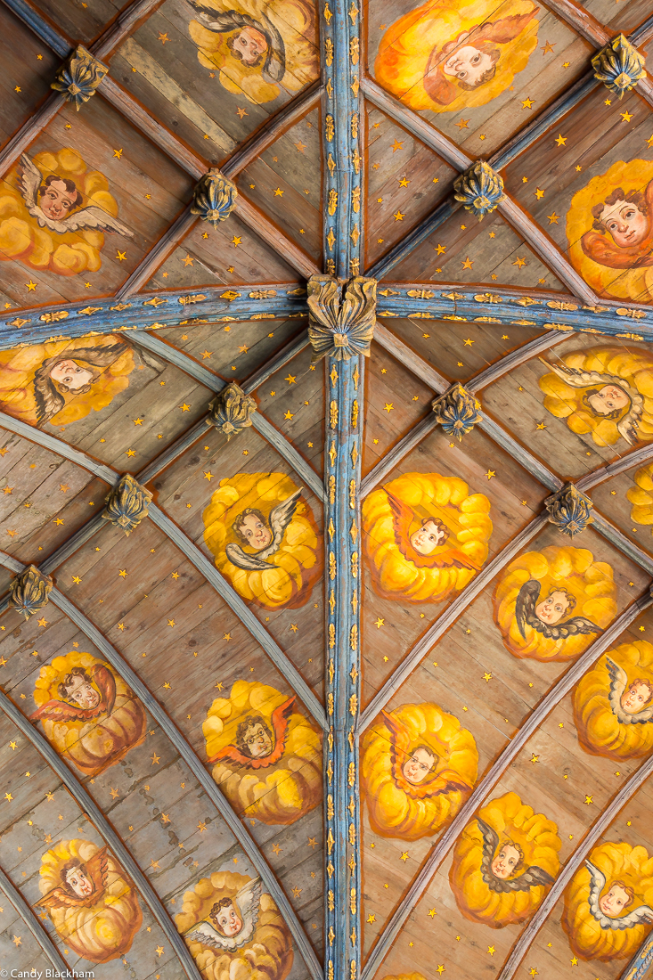 The ceiling of the Church of St Melar, Locmelar