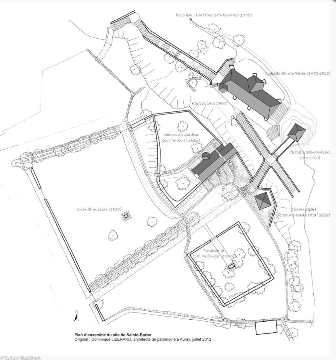 Site plan of Ste Barbe (https://www.lefaouet.fr/tourisme-culture-patrimoine/patrimoine/chapelle-sainte-barbe)