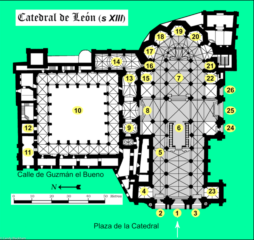 The floorplan of the Cathedral & Cloister, Leon (wikipedia)