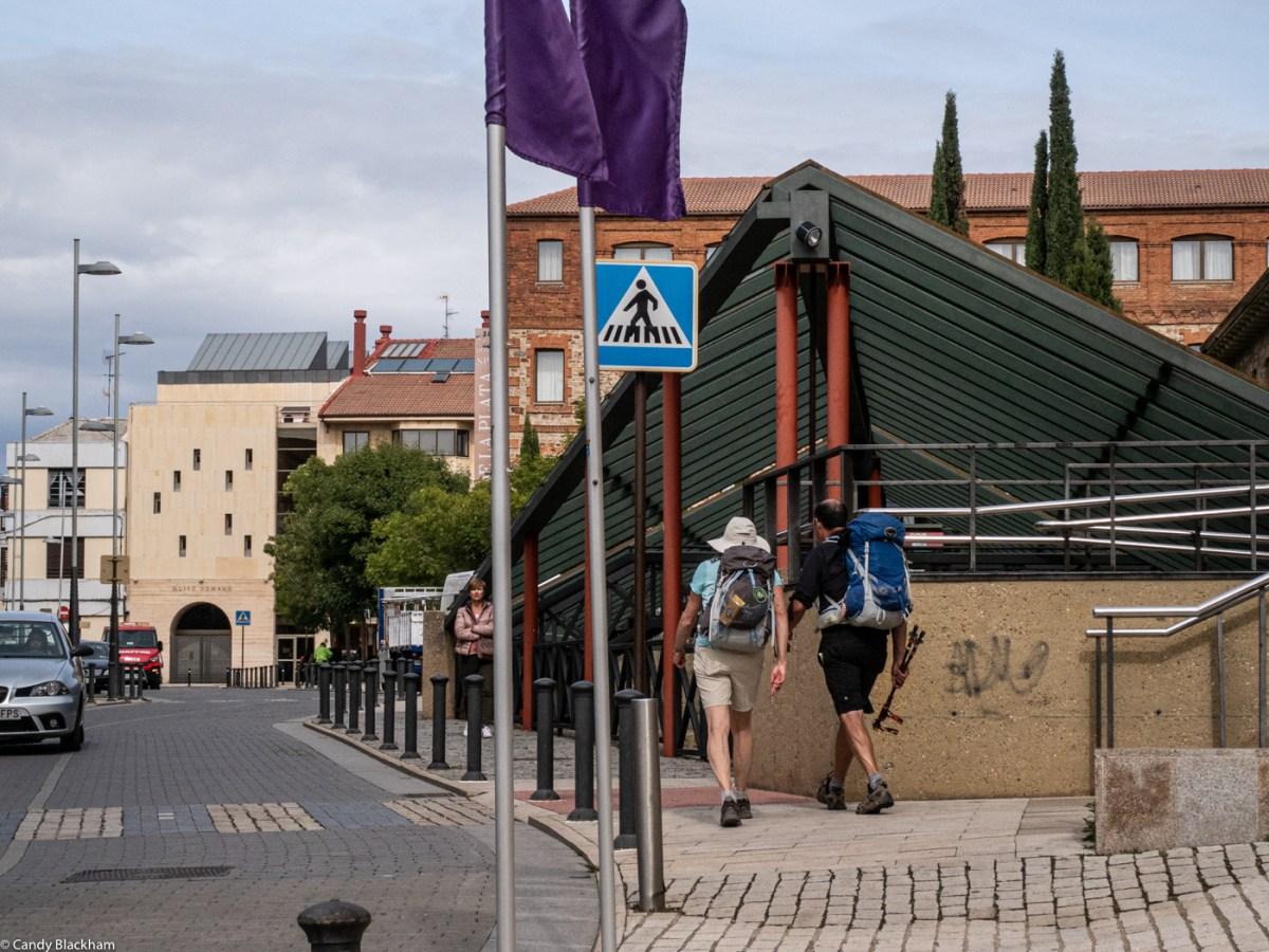 Pilgrims arriving through the Puerta del Sol
