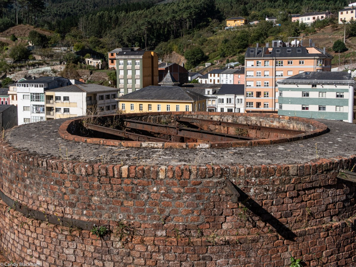 At the top of the furnaces, looking towards the town