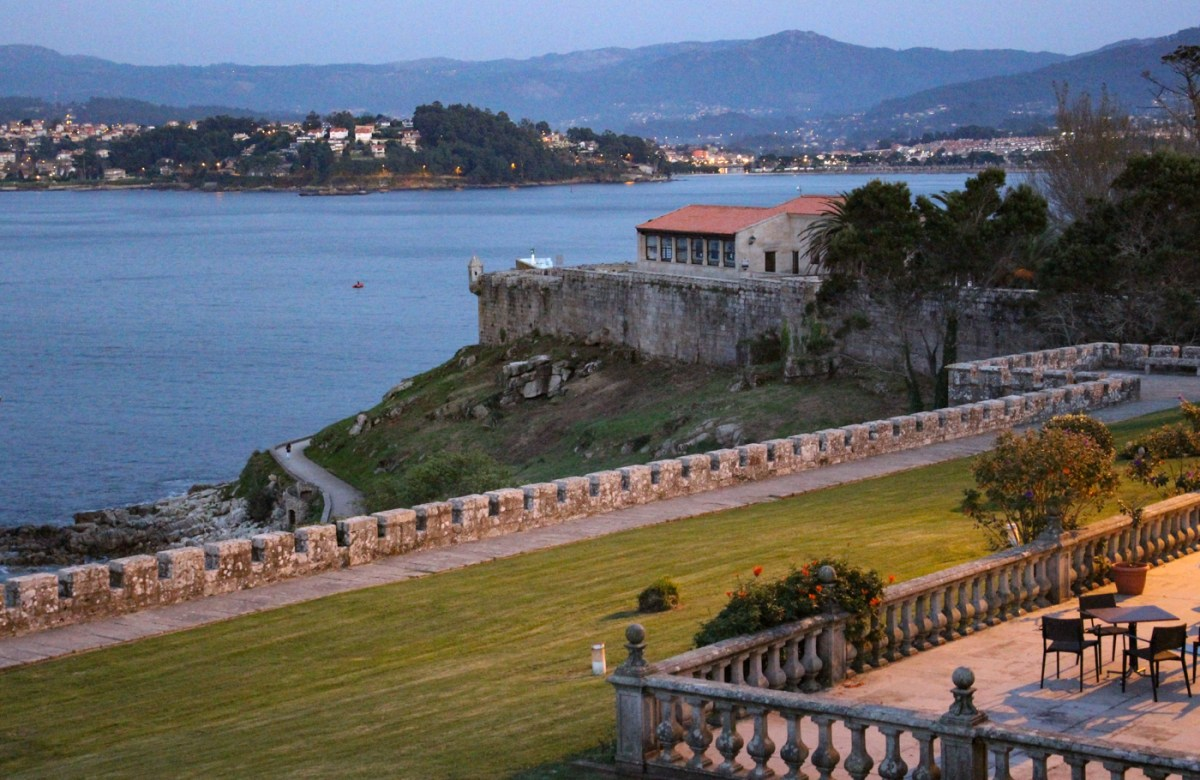 View from the Parador in Baiona in the evening