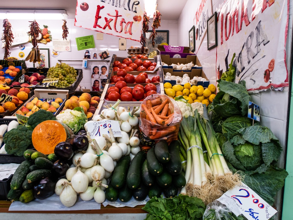 Vegetable stall in the market in Oviedo