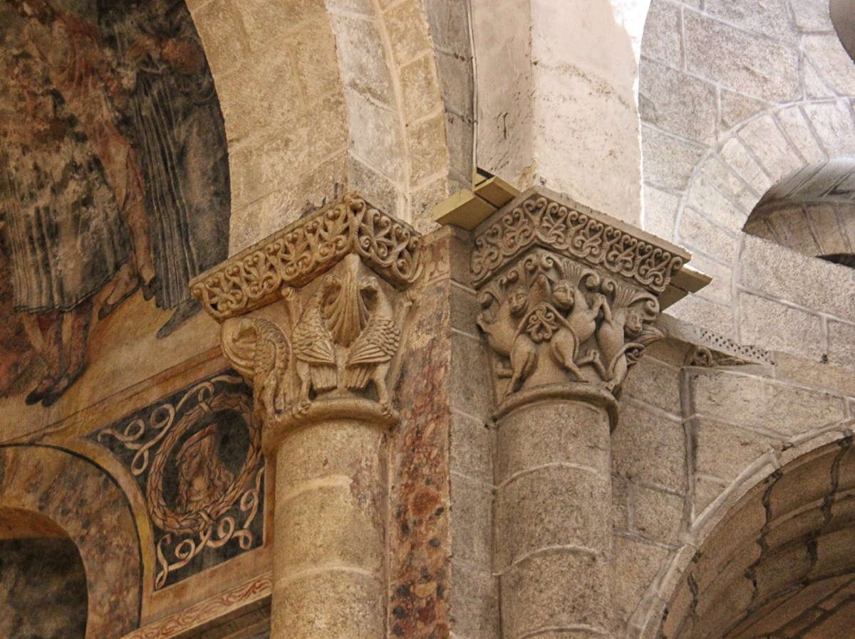 Carved capitals and wall painting in the Cathedral