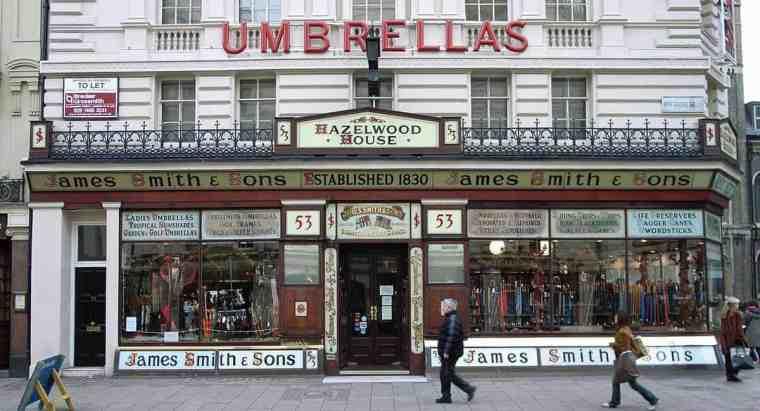 negozio ombrelli londra