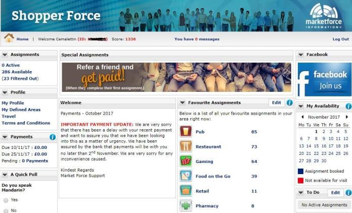 Market Force Gizli Müşteri Yönetim Ekranı