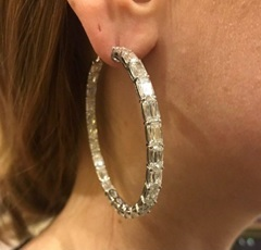 Gold Band earrings with embedded square set diamonds