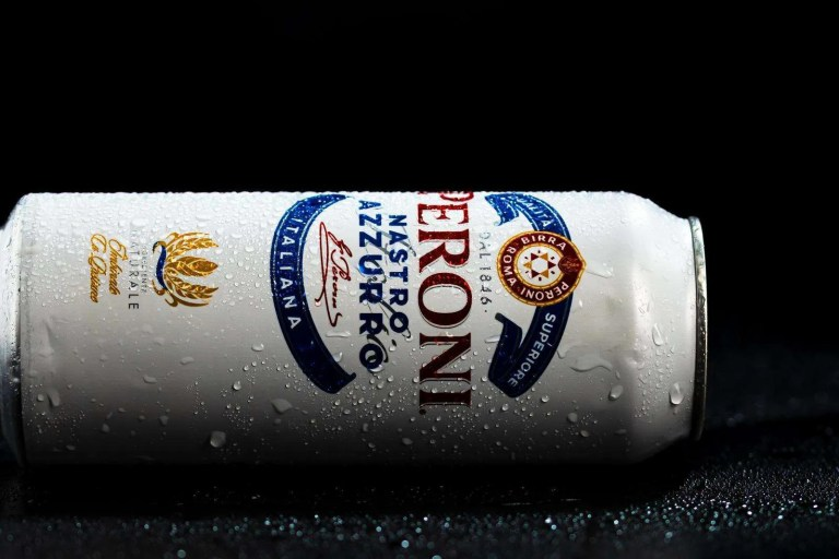 Detail of water droplets on Peroni Nastro Azzurro, a premium lager beer