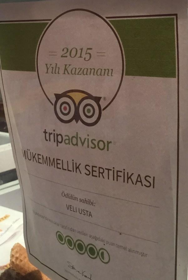 Veli Usta'nın Tripadvisor sitesinden aldığı