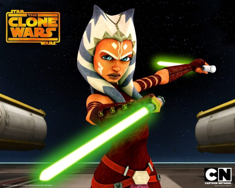 A photo of Ahsoka Tano from the Star Wars Clone Wars cartoon