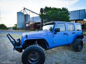 Sprayed Blue Jeep Rubicon Full Body View