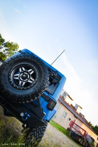 Sprayed Blue Jeep Rubicon Rear View
