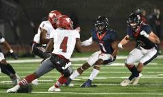 Pearland Dawson vs. North Shore {7-38} football game on 12-17-2020. Samuel De Leon