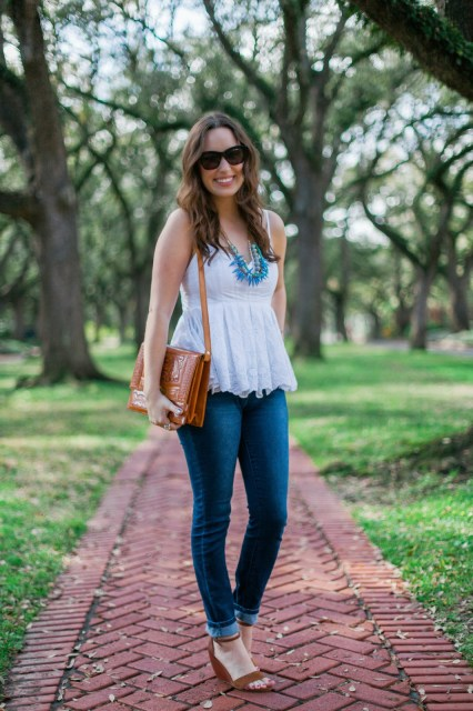 Anthropologie white lace top, anthropologie white lace peplum, anthropologie white lace peplum tank top, anthropologie white tank top, the lone star looking glass, love 41 necklace, exotic skies necklace, vintage leather purse, blog post, fashion blogger, houston blogger, jordache high waisted skinny jeans