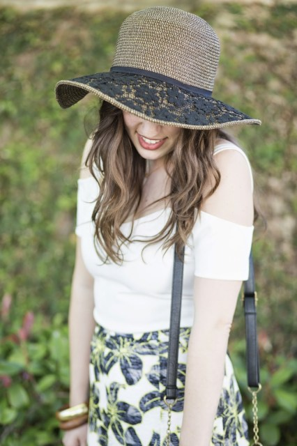 Anthropologie embroidered hat, anthropologie sun hat, anthropologie floppy hat, topshop crop top, top shop white crop top, houston fashion blogger, houston style blogger