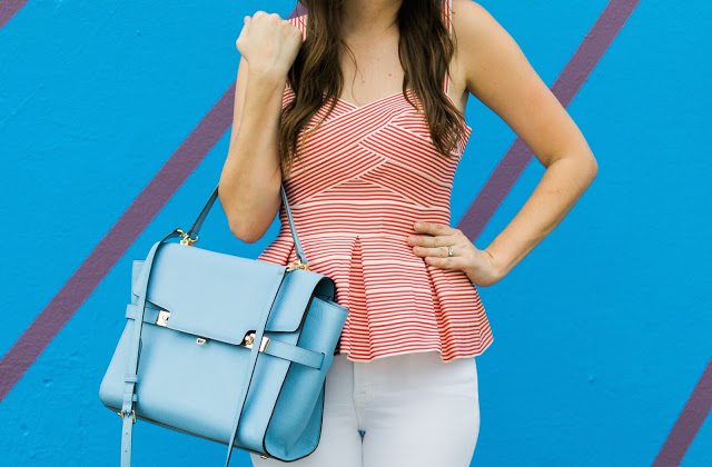 henri bendel uptown satchel, anthropologie cabana peplum top, the lone star looking glass, houston fashion blogger