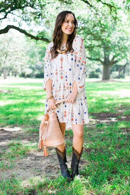 zara embroidered tunic dress, cavender's blue cowboy boots, blue cowboy boots, lone star looking glass, cowboy boots, how to style cowboy boots, houston rodeo style, big buddha bucket bag