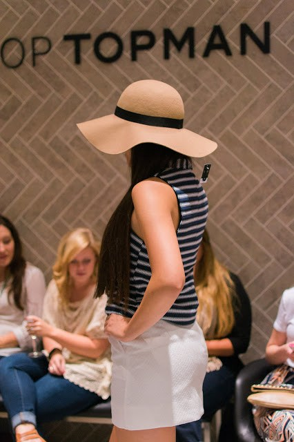 topshop floppy hat, brown and black floppy hat, high neck striped tank, white mini, topshop
