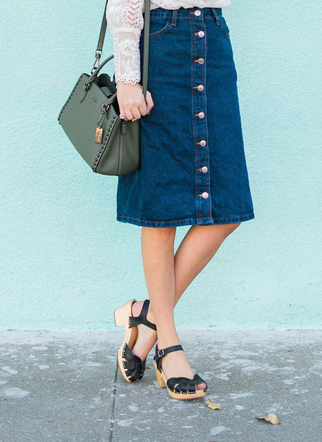 Topshop moto skirt, topshop denim skirt, topshop denim midi skirt, button front denim midi skirt