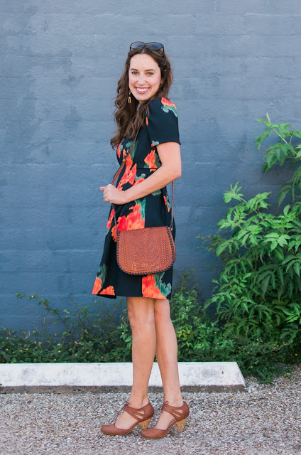 the lone star looking glass, houston fashion blogger, houston style blogger, houston blogger, orange and navy floral dress, anthropologie orange and navy floral dress, anthropologie navy floral dress, anthropologie fall dresses,