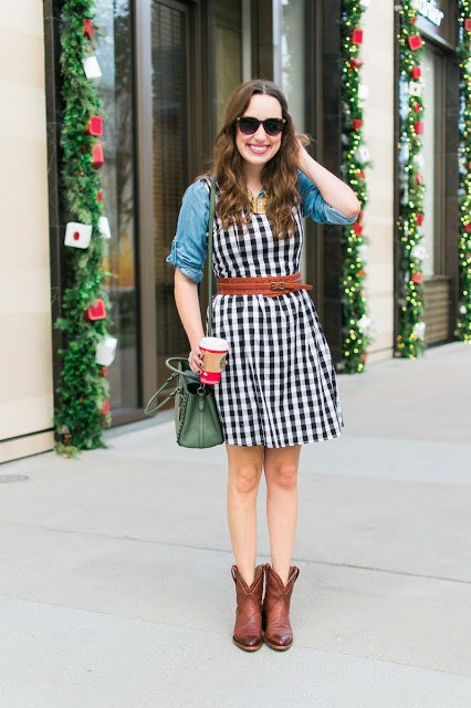 gingham sundress, tecovas boots, the trellis shop, coach fall 2015, olive green coach bag, chambray and gingham, chambray top under a gingham dress, tecovas penny boots