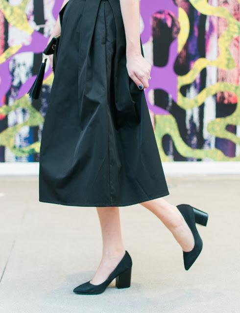 Flora Mia Claudia Skirt, black midi skirt, flora mia, flora mia black skirt, restricted heels, restricted jay high heels