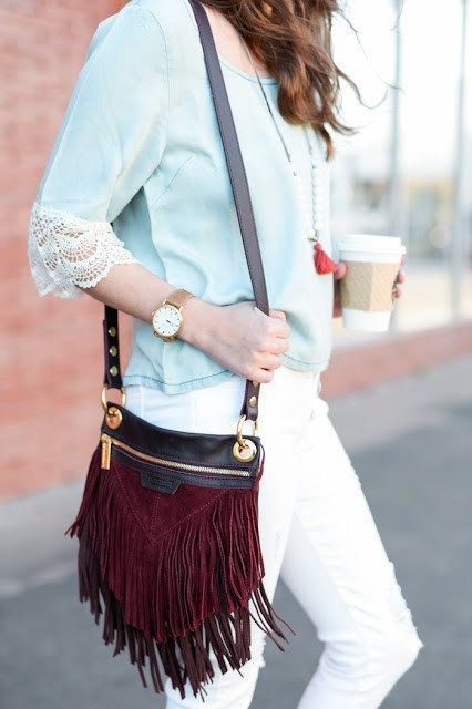 Shore Projects Portland Watch, hammitt fringe bag, wild blue denim, wild blue white jeans, how to wear white jeans,