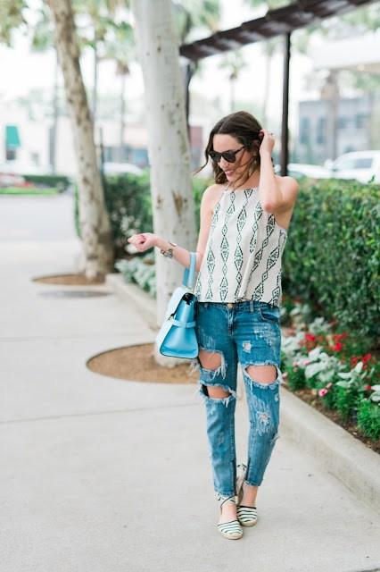 one teaspoon jeans, distressed denim, how to wear distressed denim, soludos, striped espadrilles, blue henri bendel purse, evely tank top