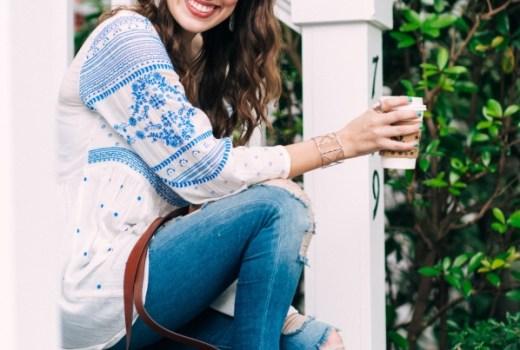 meadowbrook blouse, anthropologie blue and white embroidered top, anthropologie embroidered tops, fossil harper saddlebag, true religions distressed leggings, jack rogers lauren sandals