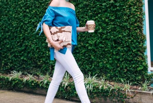 white true religion jeans, blue off the shoulder top, woven fringe clutch, houston fashion blogger, houston blogger