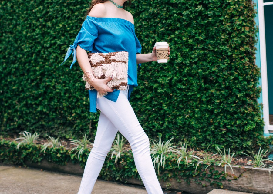 Blue_off_the_shoulder_top_White_jeans