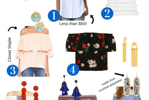 Off the shoulder tops and statement earrings outfiti ideas, summer outfit inspiration, bauble bar statement earrings, how to style statement earrings, how to style off the shoulder tops