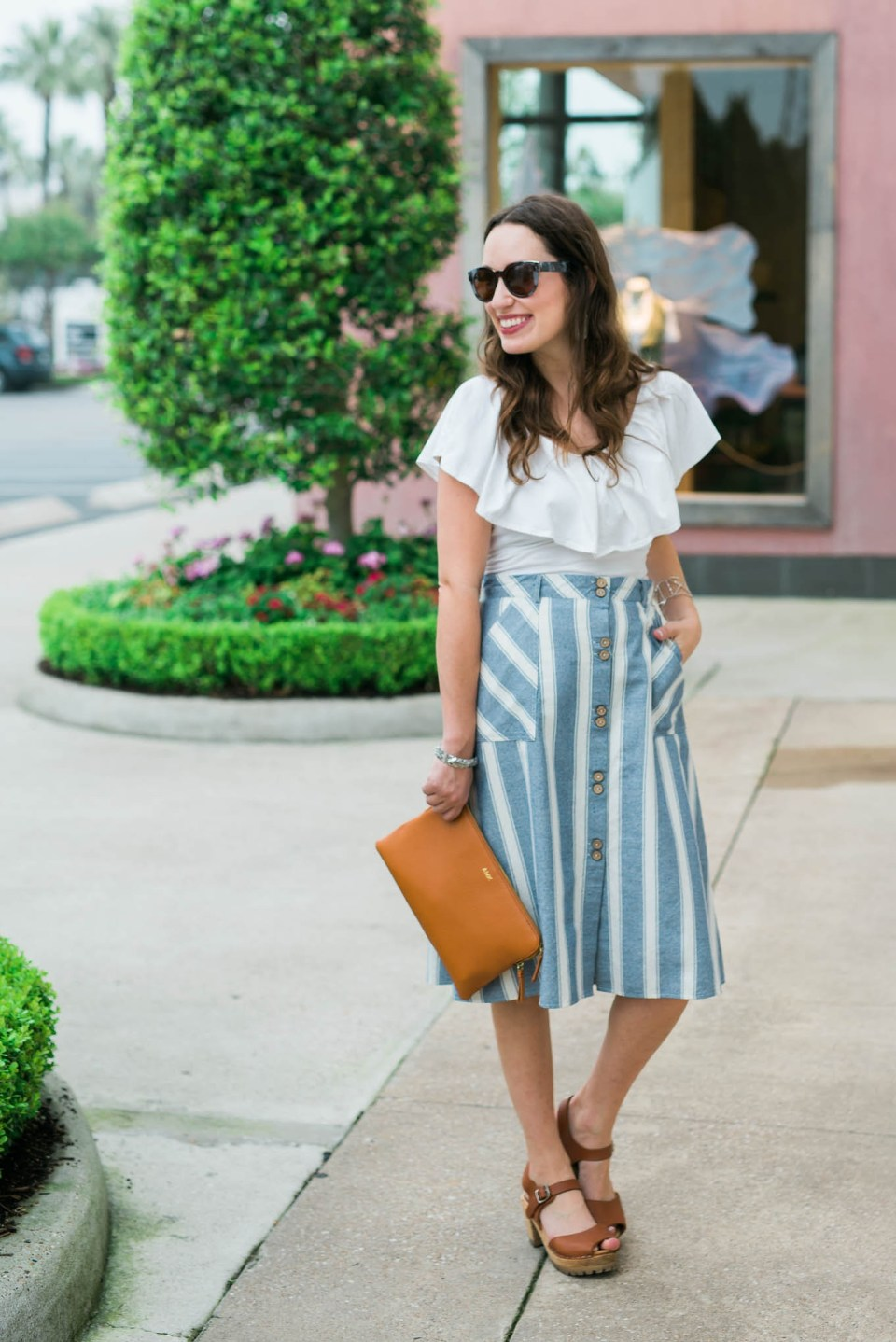 francescas striped midi skirt, blue and white striped midi skirt, mark and graham daily leather pouch, free people white off the shoulder top, houston bloggers, houston blogger, houston fashion blogger