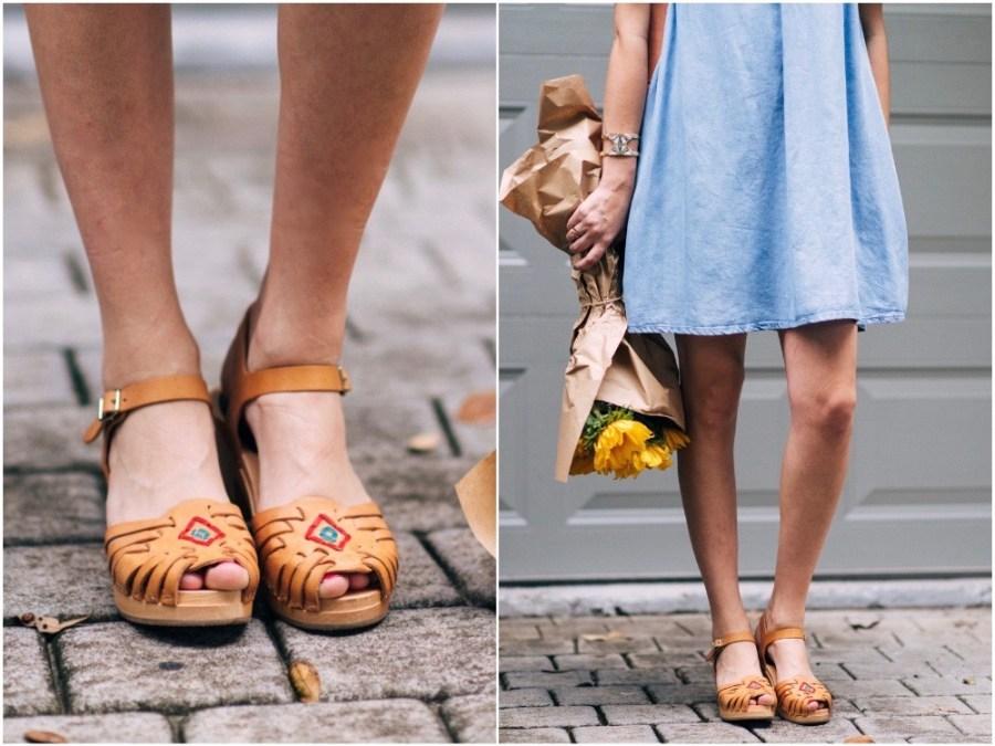 swedish hasbeens huarache sandals, embroidered swedish hasbeens, swedish clogs and a chambray sundress