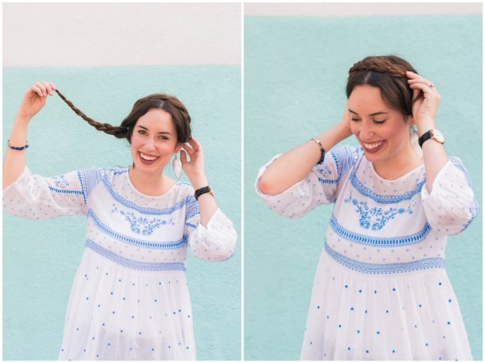 A super simple messy crown braid tutorial that takes less than 10 minutes