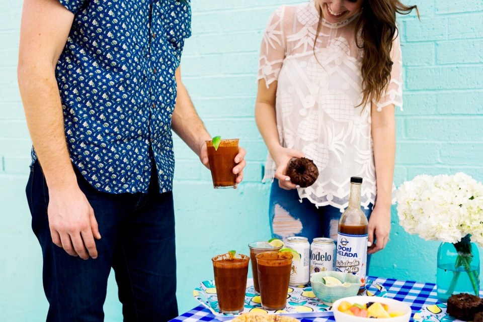 don michelada drink mix, how to make a michelada, michelada recipe, boozy brunch ideas, anthropologie pina lace top,