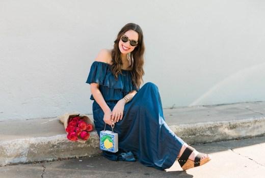 macy's navy blue off the shoulder maxi dress, inc concepts bohemian dresses, acrylic lemon clutch, lone star looking glass, houston blogger, houston fashion bloggers