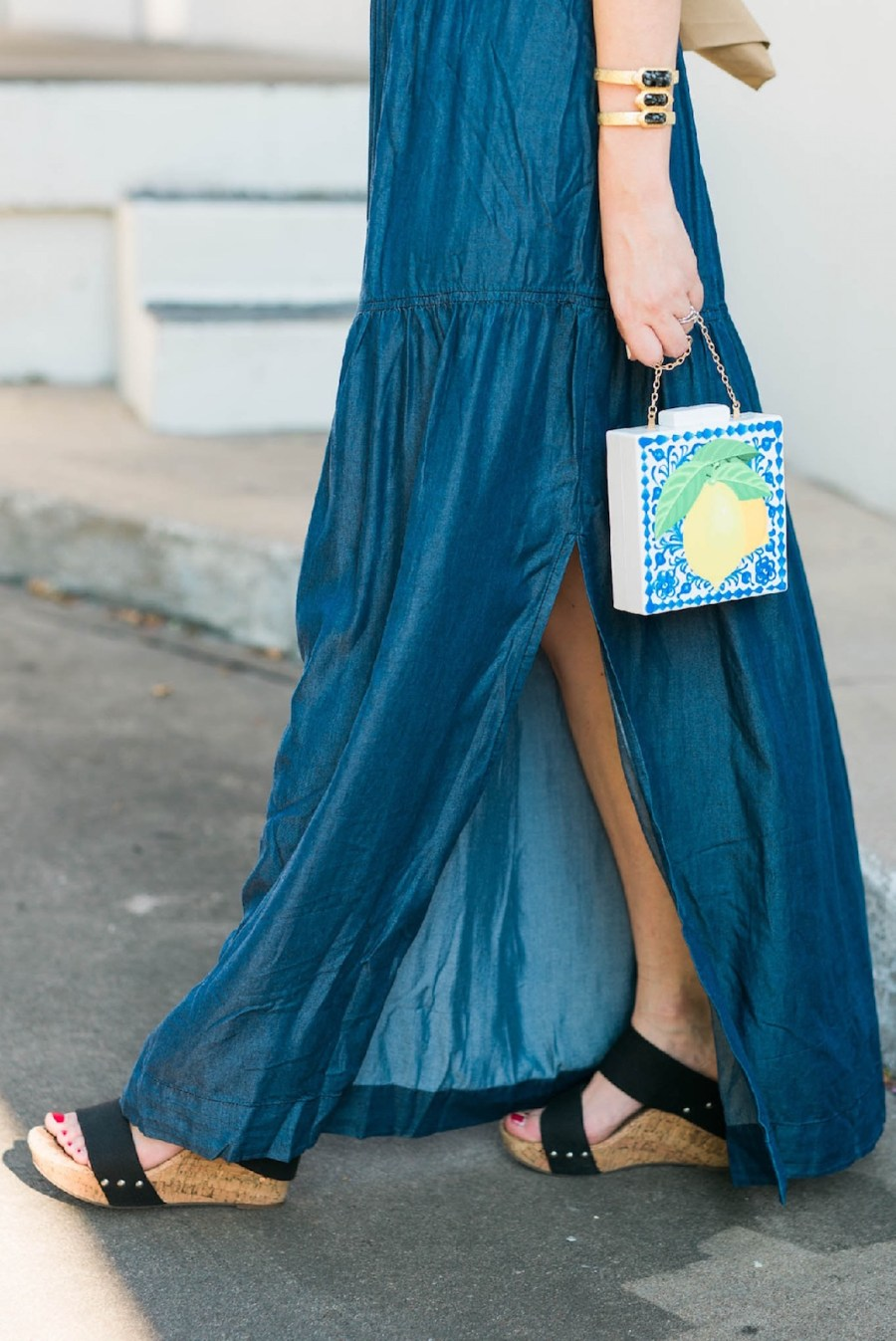 acrylic blue and white lemon clutch, sole society black and cork wedges, macy's chambray maxi dresses, dark blue maxi dress