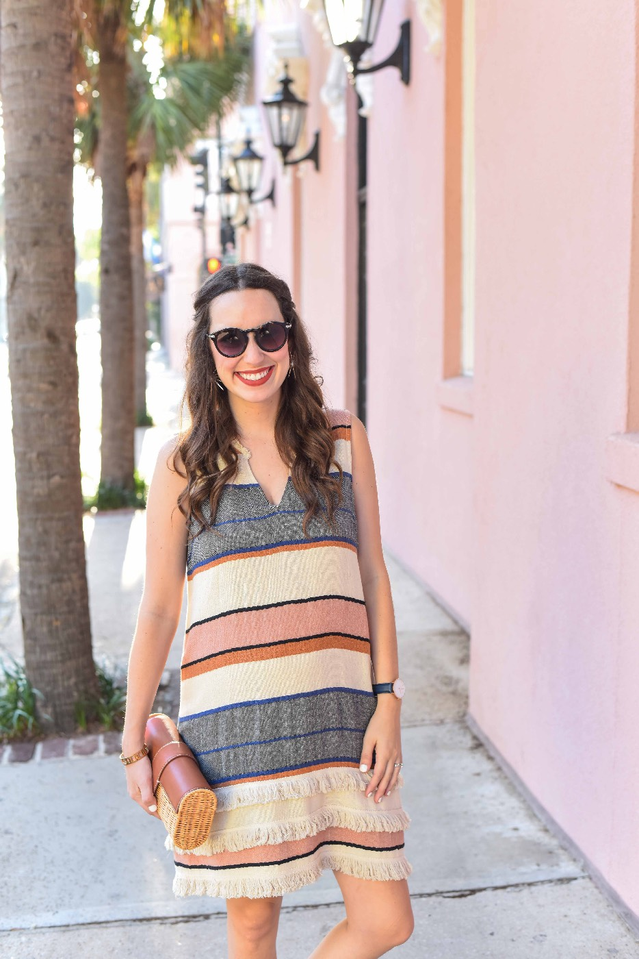 Styling an Anthropologie Striped Fringe Tunic Dress at The Mills House in Charleston.