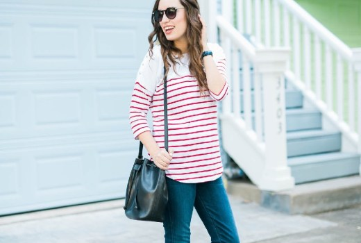 A casual maternity outfit in a striped breton maternity top from Seraphine Maternity with Citizens of Humanity jeans.