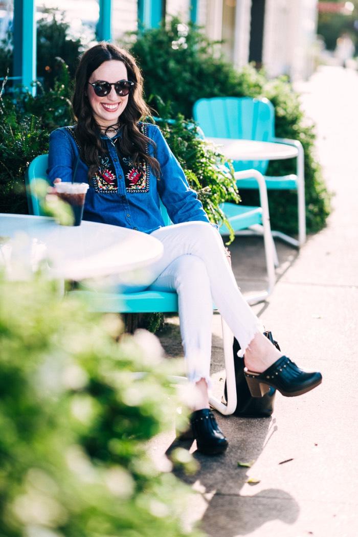Houston fashion blogger Alice Kerley styles a Dansko's Deni Clogs with True Religion white fringe jeans.