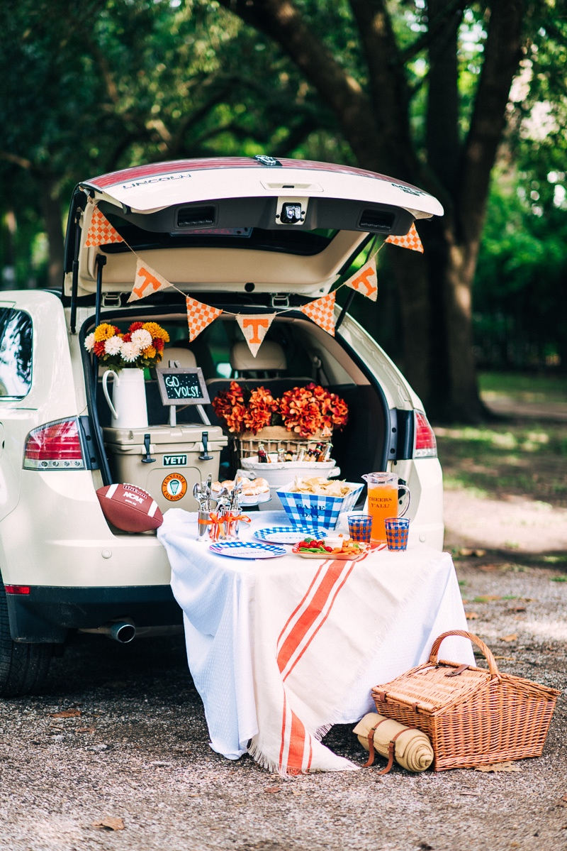 Orange and white Tennessee football tailgating ideas with Draper James.