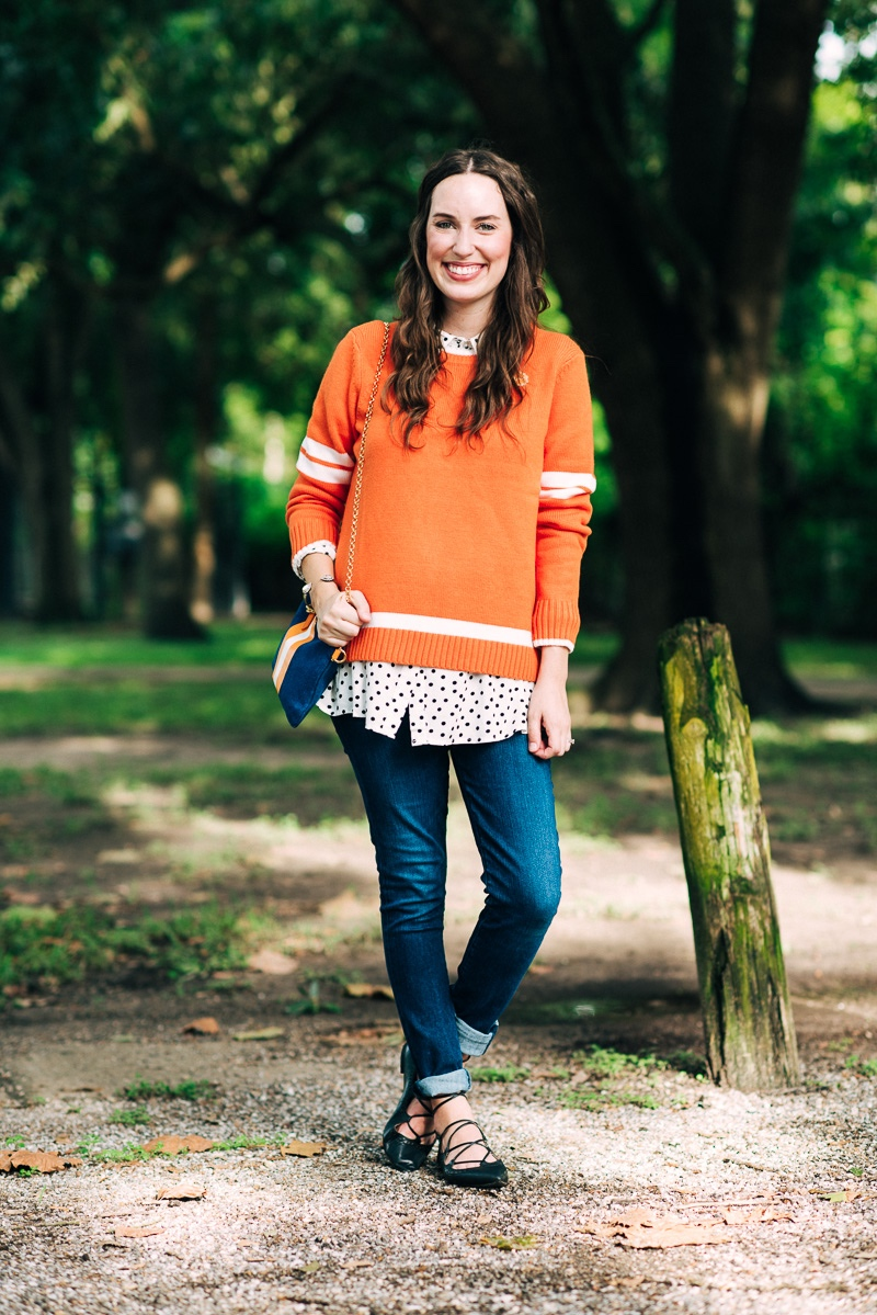 Orange and white outfit ideas for a Tennessee football game.